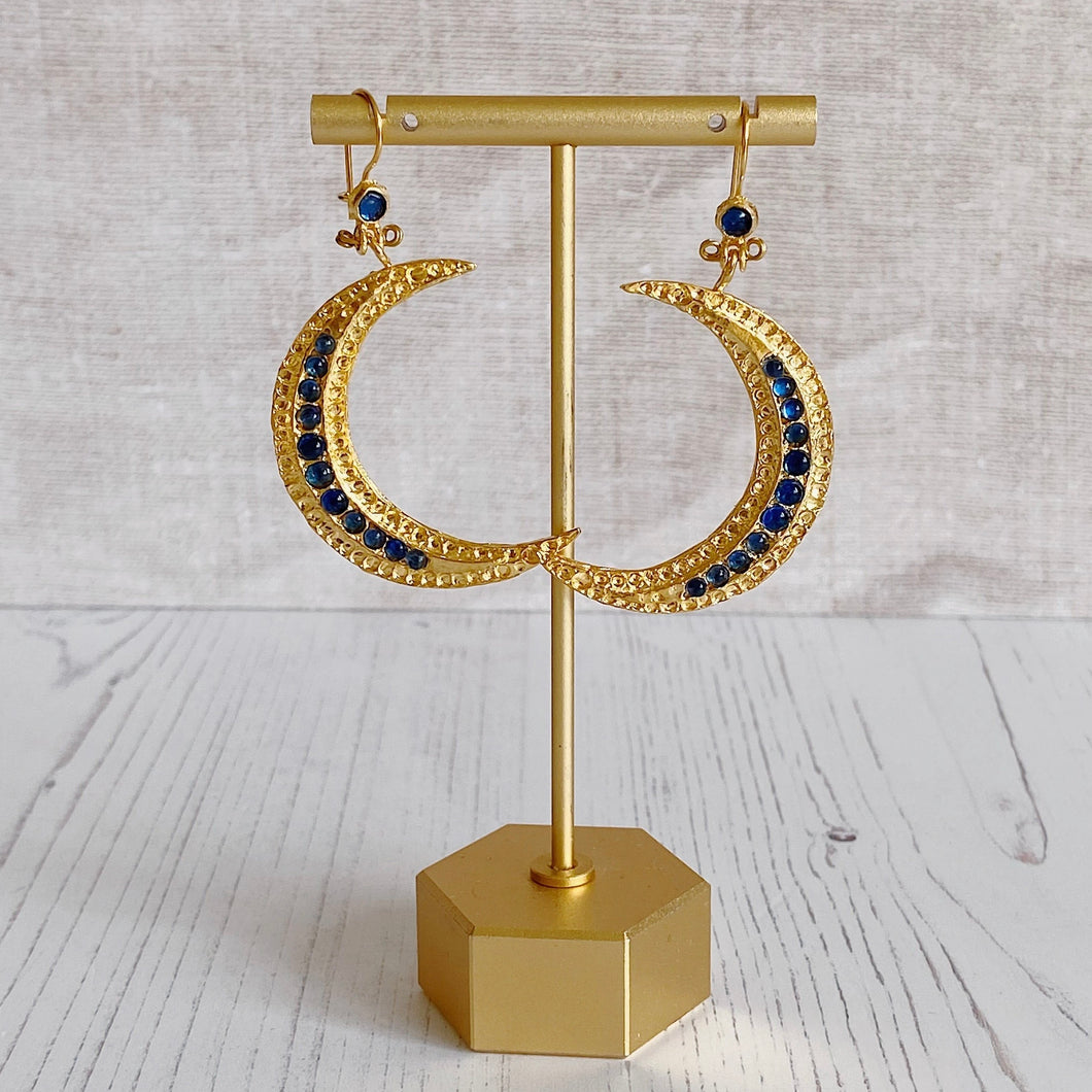 Blue Crescent Moon Statement Earrings