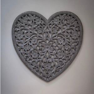Large Grey Carved Heart Wall Art