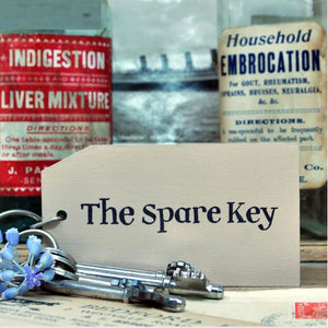 The Spare Key Wooden Painted Keyring