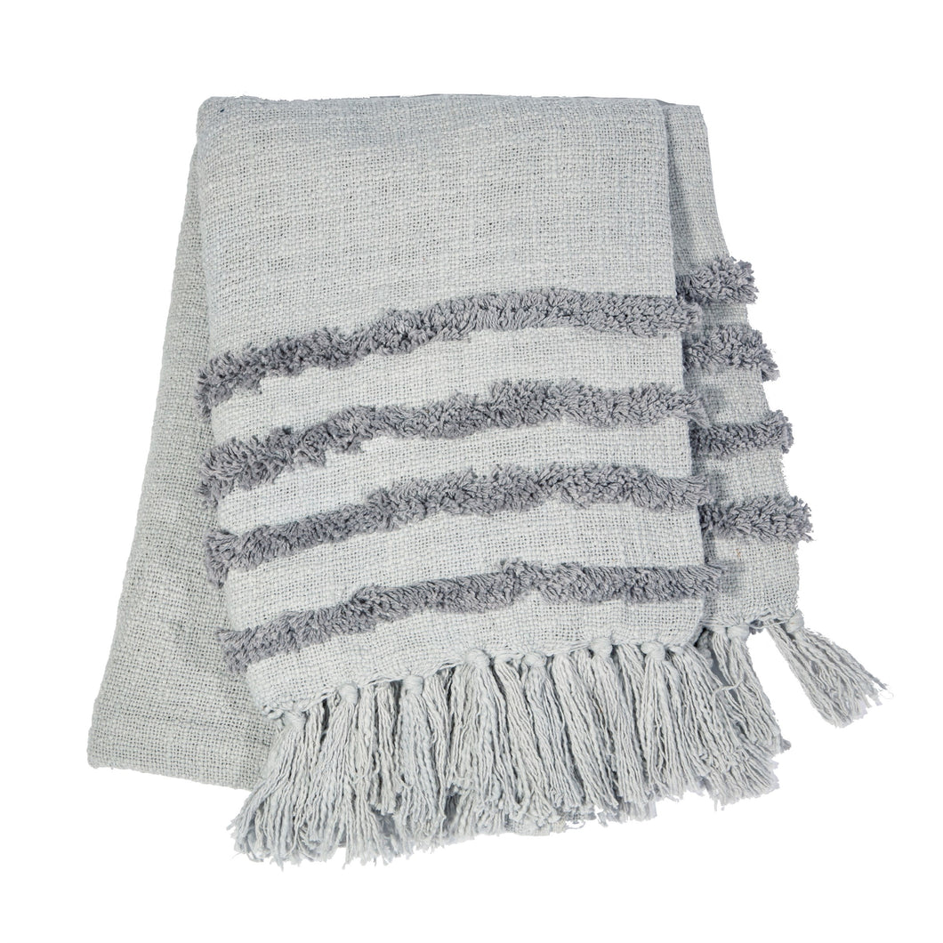 Grey Tufted Throw Blanket