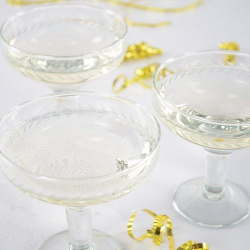 Etched glass champagne coupes - La Di Da Interiors