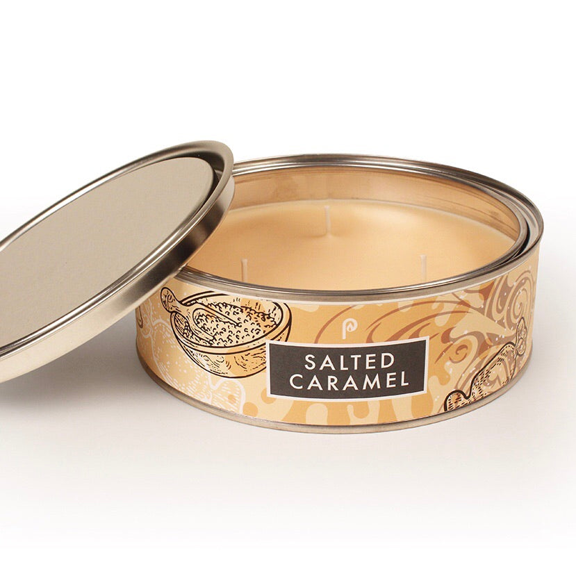 Salted Caramel Triple Wick Scented Candle Tin - La Di Da Interiors