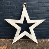 Handmade wooden whitewash star - La Di Da Interiors