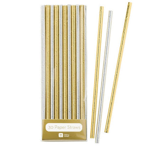 Metallic silver and gold paper straws - La Di Da Interiors