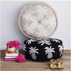 Pineapple Linen Embroidered Pouf