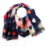 Multi coloured heart scarf in navy or grey - La Di Da Interiors