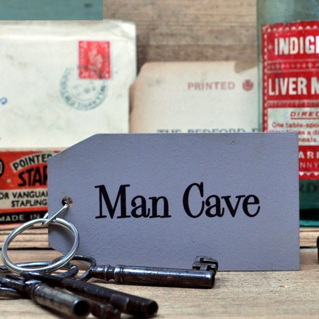The Man Cave Wooden Painted Keyring