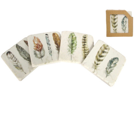Feather Design Coasters set of 4