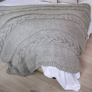 cable chunky knit grey throw