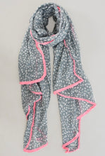 Load image into Gallery viewer, Animal Print Grey & Pink Scarf