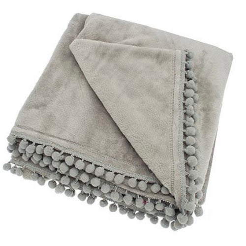pom pom throw grey