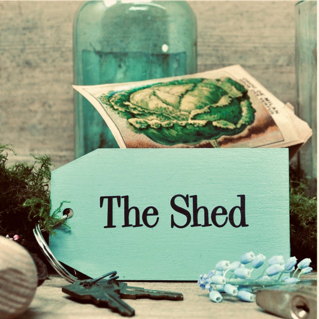 The Shed Wooden Painted Keyring