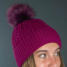 Load image into Gallery viewer, Pom Pom Hat in Magenta Pink