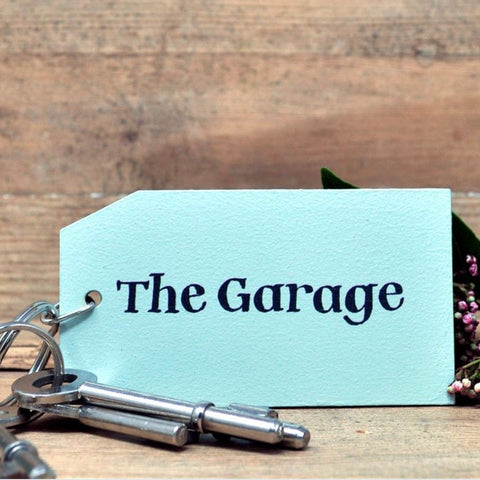 The Garage Wooden Painted Keyring