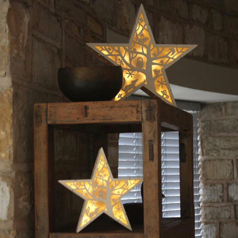 Winter Star LED light with woodland scene