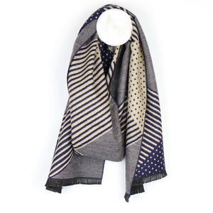 Navy and Natural Men's Scarf