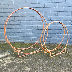 Rusty metal log carrier hoop - La Di Da Interiors