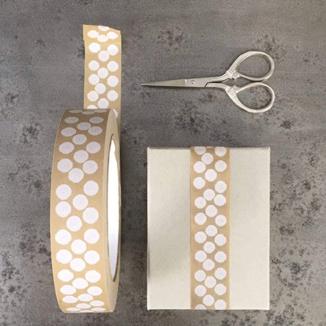 White Dots Eco Paper Tape for Parcels