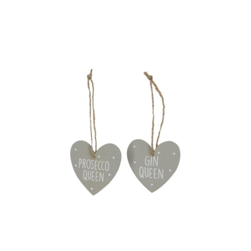Prosecco Queen & Gin Queen Gift Tag Heart