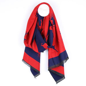 Red & Navy Reversible Stag Scarf