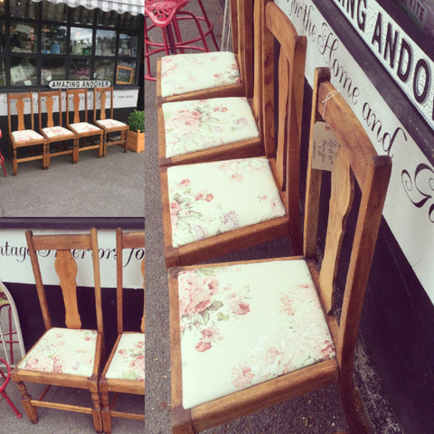 Vintage Oak Dining Chairs Floral Seats SOLD