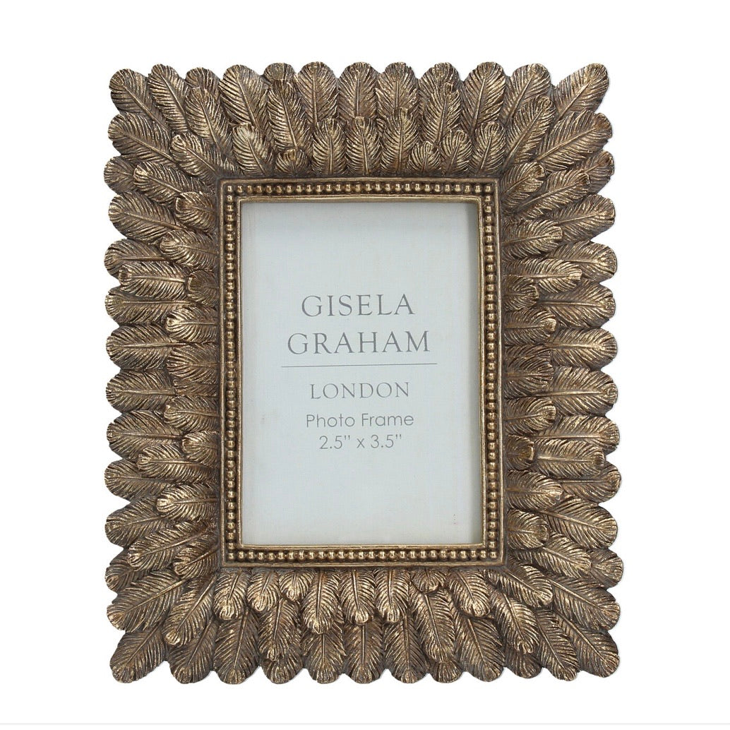 Feathers Picture Frame in Antique Gold