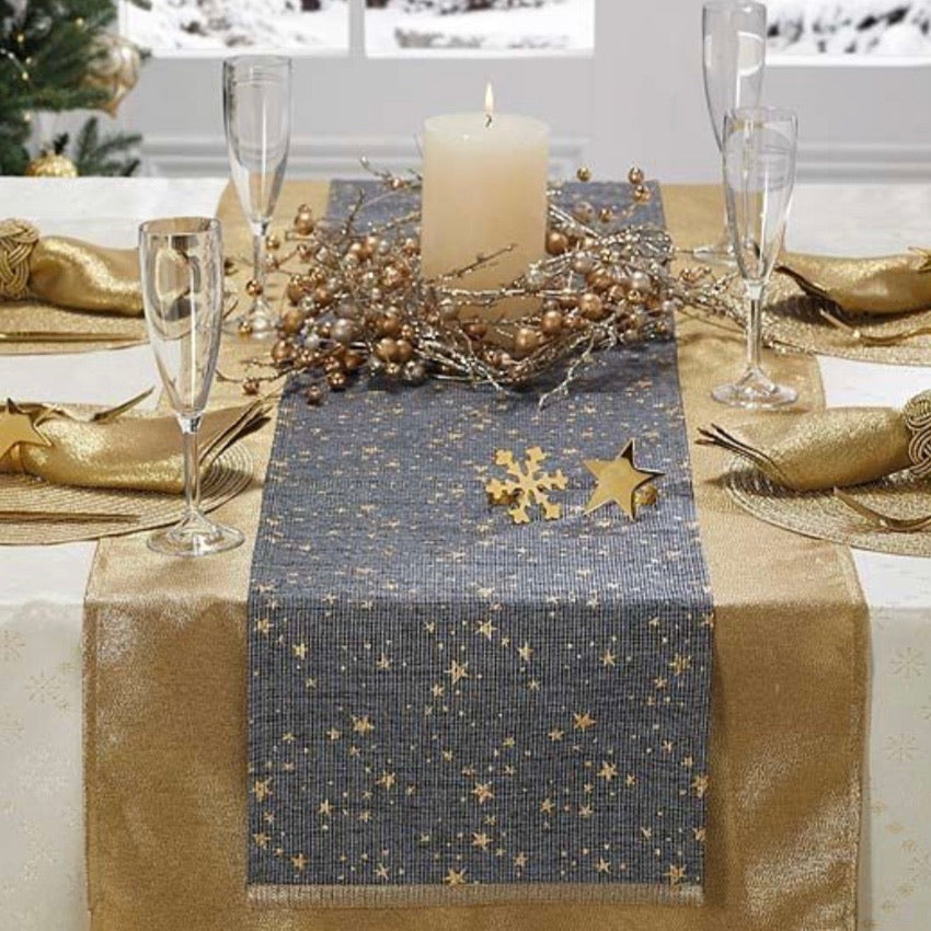 Gold Stars Midnight Blue Table Runner