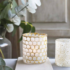 White and Gold Honeycomb Tealight Holder