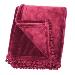 Pom Pom Fleece Throw in Orchid Pink