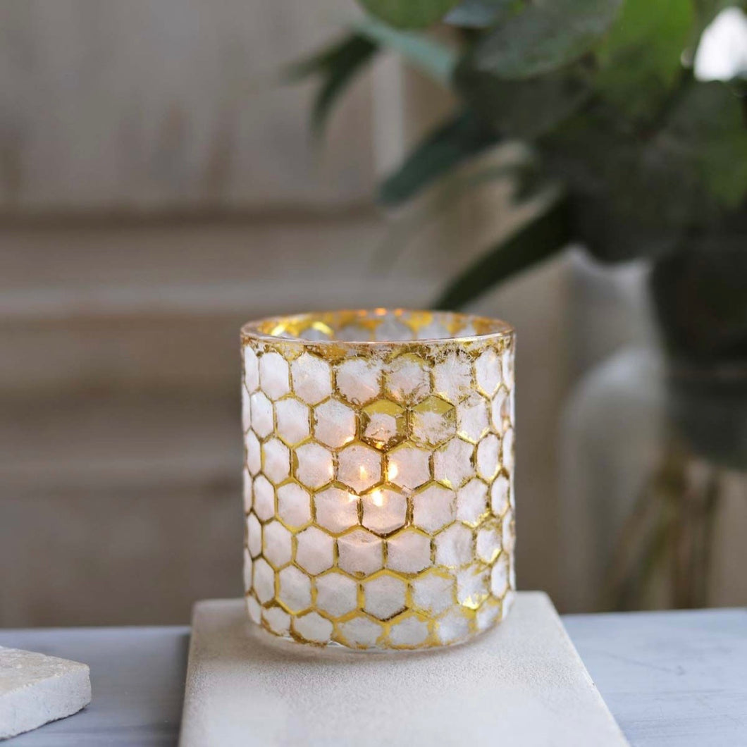 honeycomb gold and white tealight holder