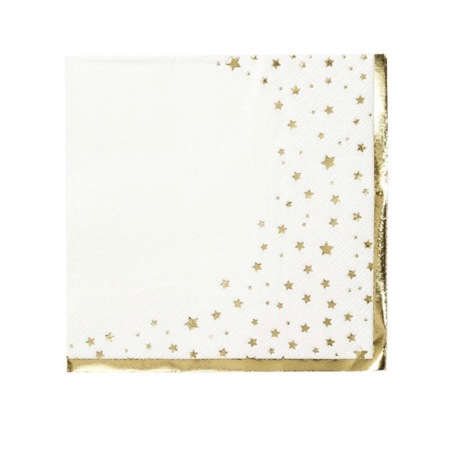 Gold and white star paper napkins - La Di Da Interiors