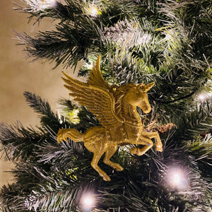 Gold Glitter Flying Unicorn Tree Decoration