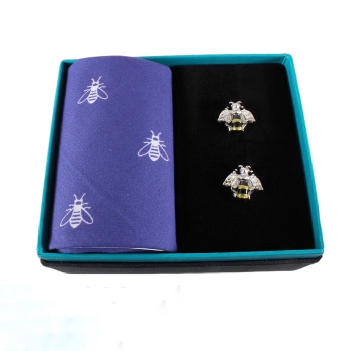 Bee Cufflinks and Pocket Square Gift Set