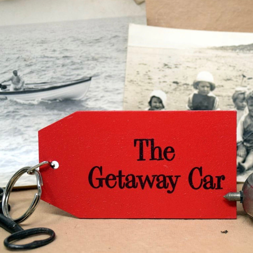 The Getaway Car Wooden Painted Keyring