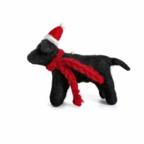 Black Labrador felt Christmas tree decoration