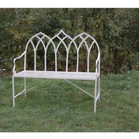Gothic Cream Metal Garden Bench
