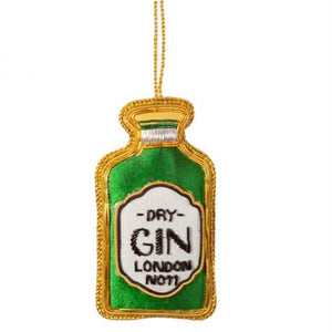 Gin Bottle Christmas Decoration Green
