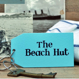 The Beach Hut Wooden Painted Keyring