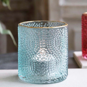 Aqua and Gold Glass Tealight Holder