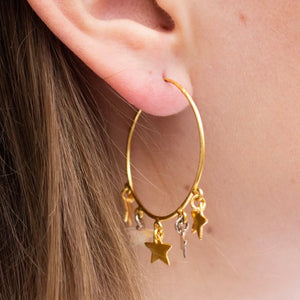 star mixed gold earrings