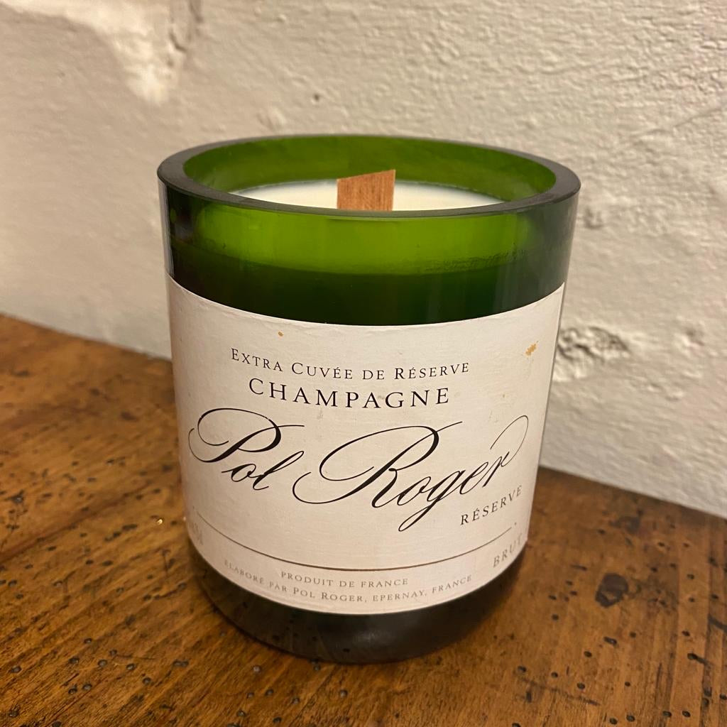 CHAMPAGNE Wine Bottle Candle with Wooden Wick Reserve Series