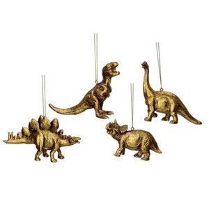 Gold Dinosaur Christmas Tree Decorations