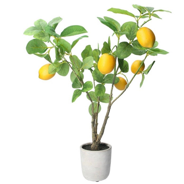 Faux potted lemon tree