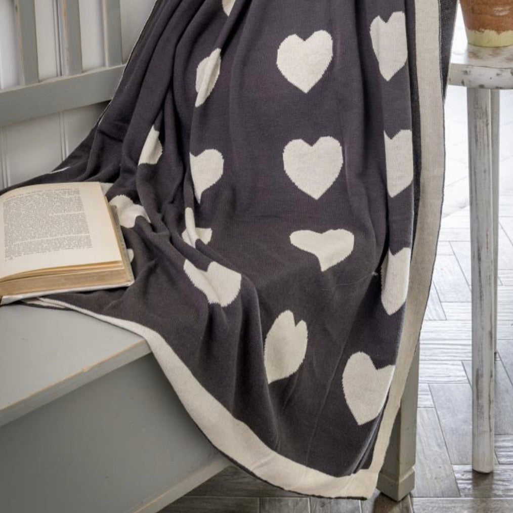 Hearts Reversible Knitted Grey & Ivory Throw