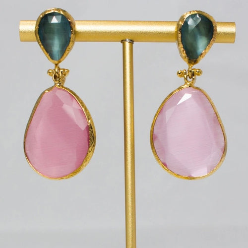 green and rose pink crystal drop earrings by My Doris