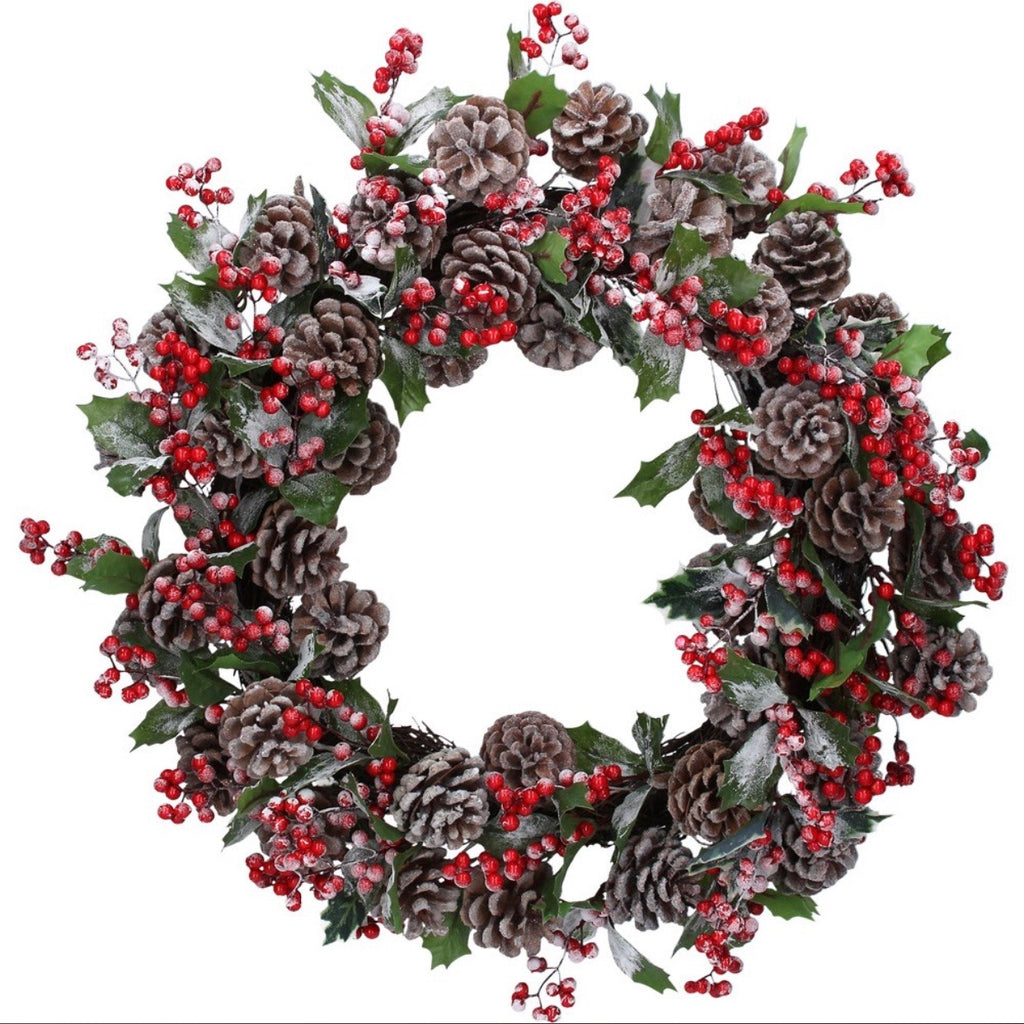 frosted berries and fir cones christmas wreath