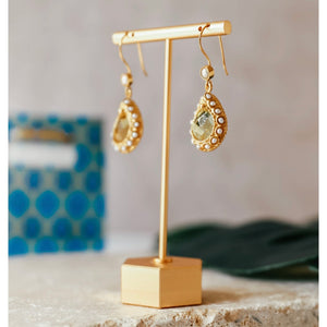 lemon quartz and pearl earrings