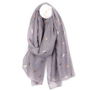 Bee Scarf in Grey with Silver