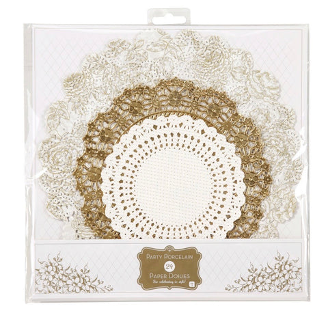 Metallic gold paper doilies