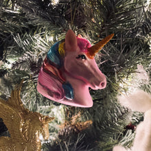 Load image into Gallery viewer, Painted Glass Unicorn Head Christmas Decoration